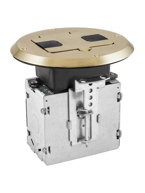 Hubbell Wiring Devices RF515BR Clear Lacquered Solid Brass Wood Fire Rated Poke-Through Floor Box