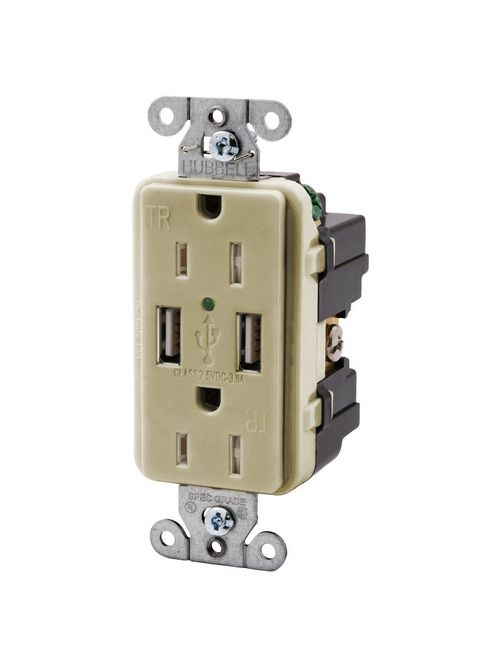 Hubbell Wiring Devices USB15X2I 15 Amp 125 Volt 2-Pole 3-Wire NEMA 5-15R Ivory Decorator Duplex USB Charger Receptacle