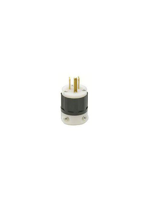 Straight Blade Plug, 15 Amp, 125 Volt, Industrial Grade - Black & White