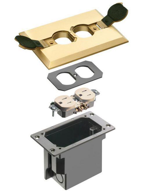 Arlington FLBRF101MB Brass Retro Floor Box with Flip Lid