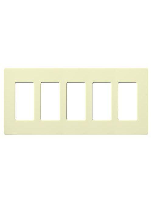 Lutron Electronics CW-5-AL 5-Gang 5-Dimmer Almond Polycarbonate Standard Designer Wallplate