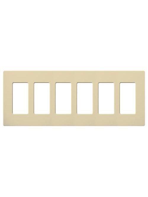 Lutron Electronics CW-6-IV 6-Gang 6-Dimmer Ivory Gloss Polycarbonate Standard Designer Wallplate