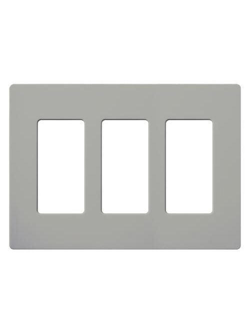 Lutron Electronics CW-3-GR 3-Gang 3-Dimmer Gray Polycarbonate Standard Designer Wallplate