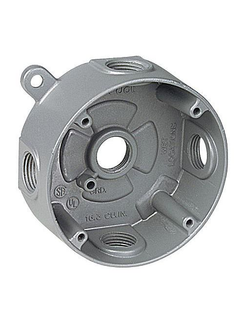 Red Dot DS-47 1/2 Inch Silver Die-Cast Aluminum Round Outlet Box