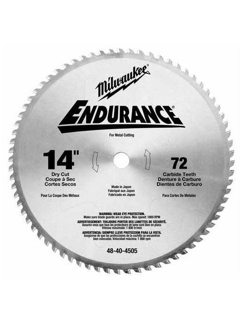 "Milwaukee 48-40-4505 14"" Circular Saw Blade, Carbide, 72 Teeth"