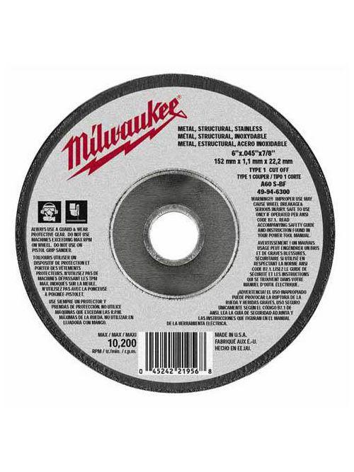 "Milwaukee 49-94-6300 6"" x .045"" x 7/8"" Cut-Off Wheel (Type 1)"