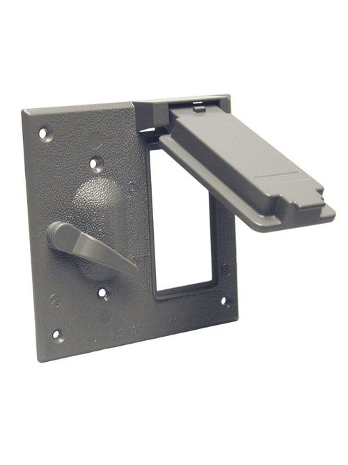 Bell 5167-0 2-Gang Gray Powder Coated Metallic Vertical Device Box Mount GFCI/Toggle Switch Weatherproof Box Cover