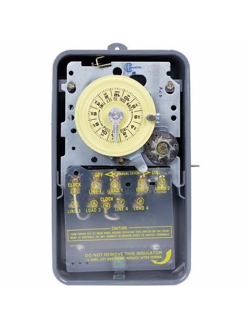 Intermatic T1472BR NEMA 3R Steel Case 208 to 277 VAC 60 Hz 40 Amp 4PST Electromechanical Time Switch with Clock Motor Terminal
