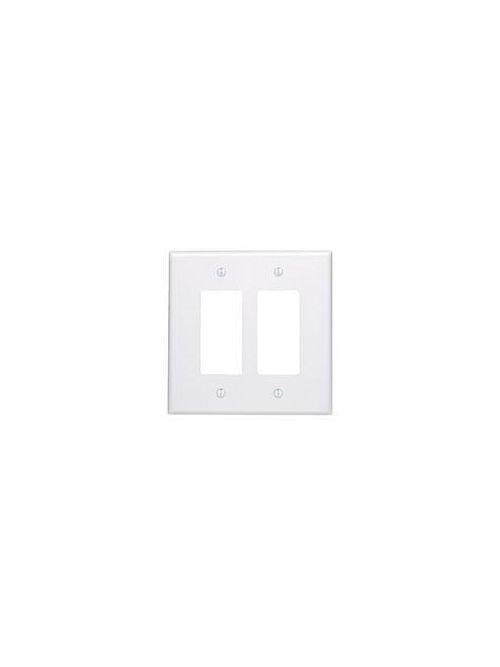 Leviton 86602 2-Gang Decora/GFCI Device Mount Oversized Thermoset Ivory Decora Wallplate