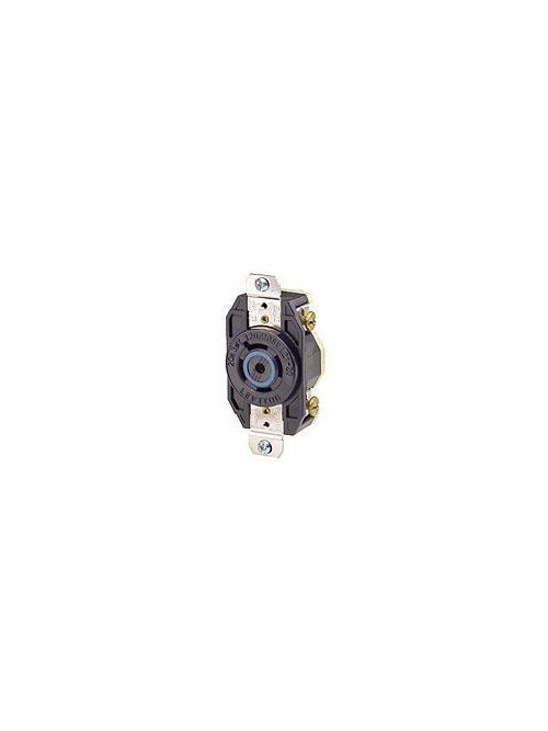 Leviton 2510 20 Amp 120/208 Volt NEMA L21-20R 4-Pole 5 Wire Flush Mounting Industrial Grade Grounding Black Locking Receptacle