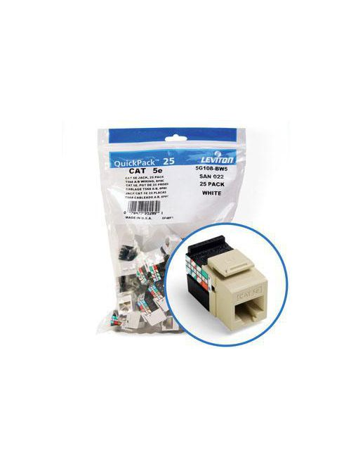 Leviton 5G108-BI5 Category 5E Ivory Plastic 1-Piece Channel Rated UTP Jack Connector