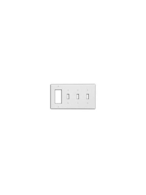 Leviton 80732-W 4-Gang 3-Toggle 1-Decora/GFCI Device Standard Size Thermoplastic Nylon White Combination Wallplate