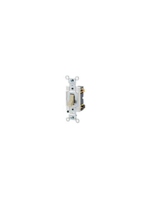 Leviton CSB3-20I 20 Amp 120/277 Volt Toggle 3-Way Commercial Spec Grade Grounding Back and Side Wired Ivory AC Quiet Switch