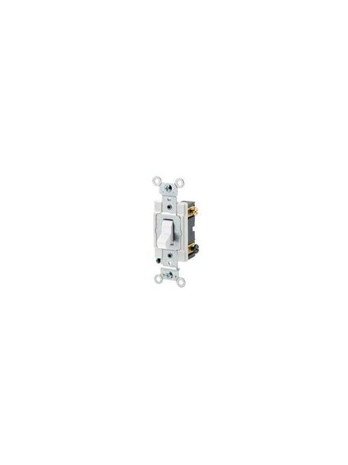 Leviton CSB3-20W 20 Amp 120/277 Volt Toggle 3-Way Commercial Spec Grade Grounding Back and Side Wired White AC Quiet Switch