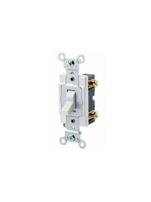Leviton 1221-SW 20 Amp 120/277 Volt Heavy Duty Spec Grade Grounding White Toggle 1-Pole AC Quiet Switch
