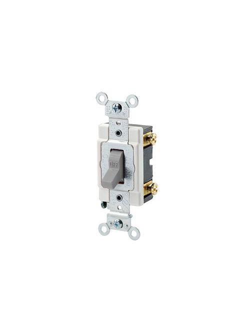 Leviton 1221-SGY 20 Amp 120/277 Volt Heavy Duty Spec Grade Grounding Gray Toggle 1-Pole AC Quiet Switch