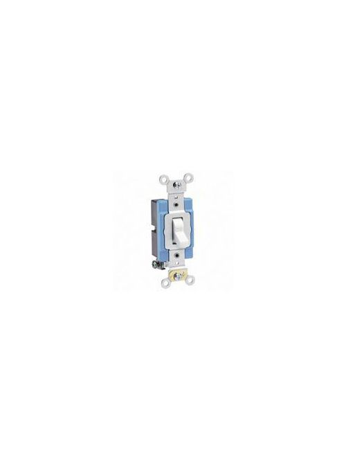 Leviton 1201-2W 120/277 VAC 15 Amp 1-Pole 2 Hp White Thermoplastic Self Grounding Toggle Quiet Switch