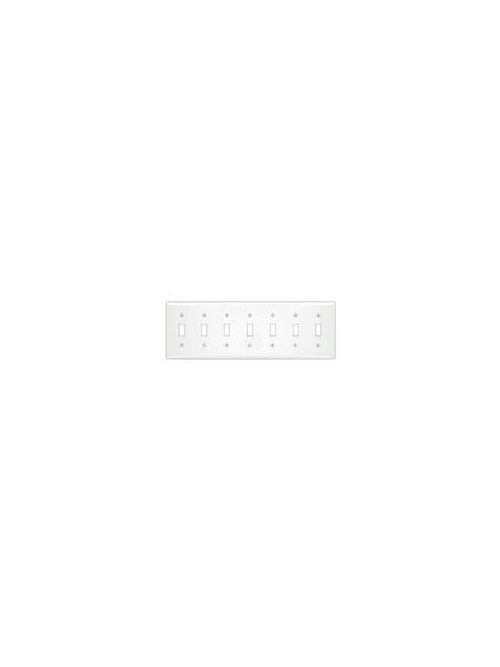 Leviton S601-W 7-Gang Standard Size Painted Metal Device Mount White Toggle Switch Wallplate