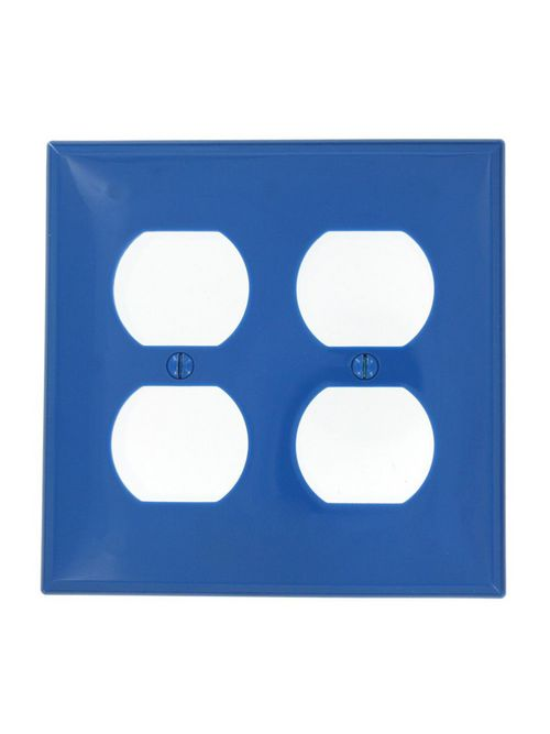 Leviton 80716-BU 2-Gang Duplex Device Mount Receptacle Standard Size Thermoplastic Nylon Blue Wallplate
