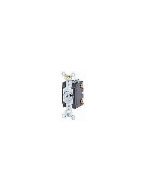 Leviton 1222-2KL 20 Amp 120/277 Volt Extra Heavy Duty Spec Grade Self Grounding Key Locking 2-Pole AC Quiet Switch