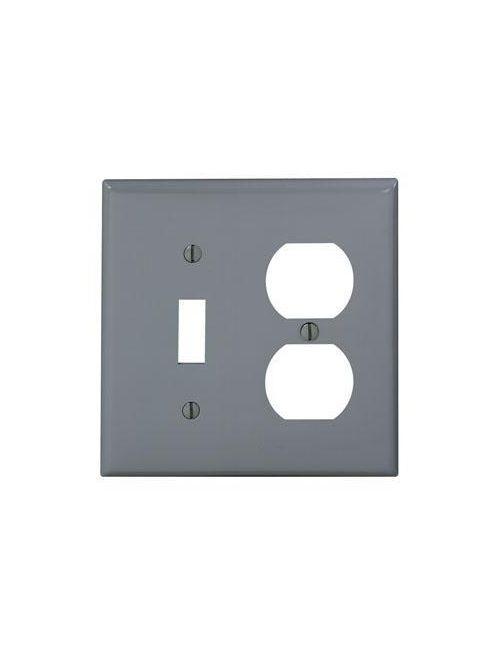 Leviton 80705-GY 2-Gang 1-Toggle 1-Duplex Device Mount Standard Size Thermoplastic Nylon Grey Combination Wallplate