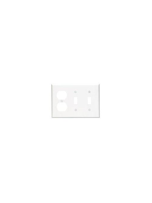 Leviton 80721-W 3-Gang 2-Toggle 1-Duplex Device Mount Standard Size Thermoplastic Nylon White Combination Wallplate