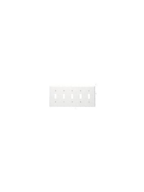 Leviton 80723-I 5-Gang Toggle Device Mount Switch Standard Size Thermoplastic Nylon Ivory Wallplate