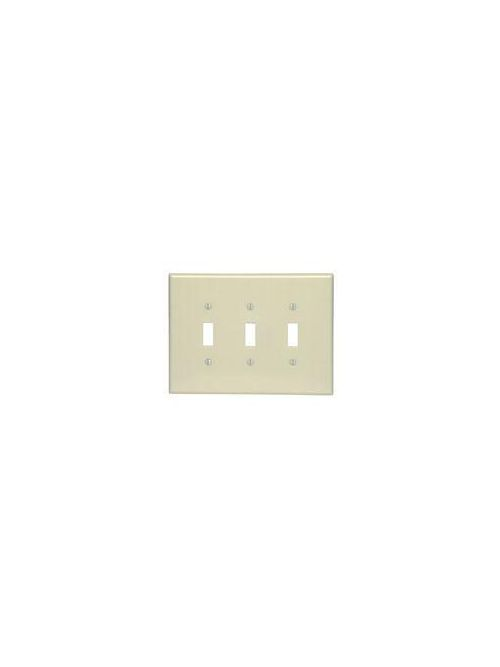 Leviton 86111 3-Gang Toggle Device Mount Switch Oversized Thermoset Ivory Wallplate