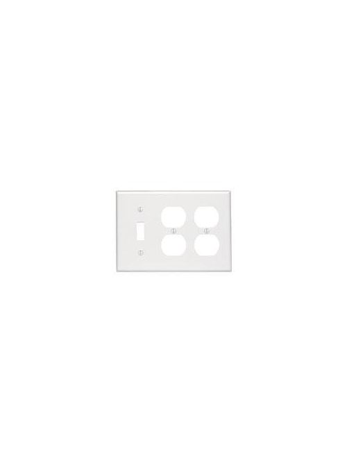 Leviton 86047 6.38 x 0.22 x 4.5 Inch 3-Gang Smooth Ivory Thermoset Device Mount Standard Combination Wallplate