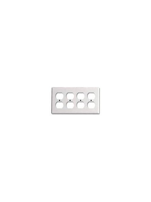 Leviton 86041 8.19 x 0.22 x 4.5 Inch 4-Gang Smooth Ivory Thermoset Device Mount Standard Duplex Receptacle Wallplate