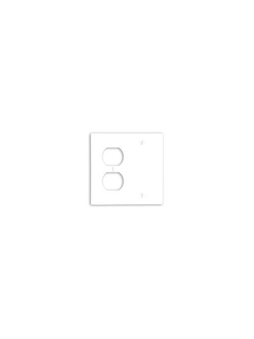 Leviton 88008 4.56 x 0.22 x 4.5 Inch 2-Gang Smooth White Thermoset Box Mount Standard Combination Wallplate