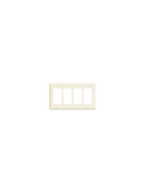 Leviton 80412-NW 4-Gang White DecoraStandard Size Nylon Wallplate