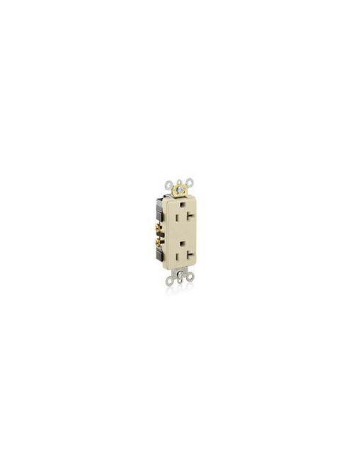 Leviton 16342-I 125 Volt 20 Amp 2-Pole 3-Wire NEMA 5-20R 1 Hp Ivory Thermoplastic Nylon Straight Blade Duplex Receptacle