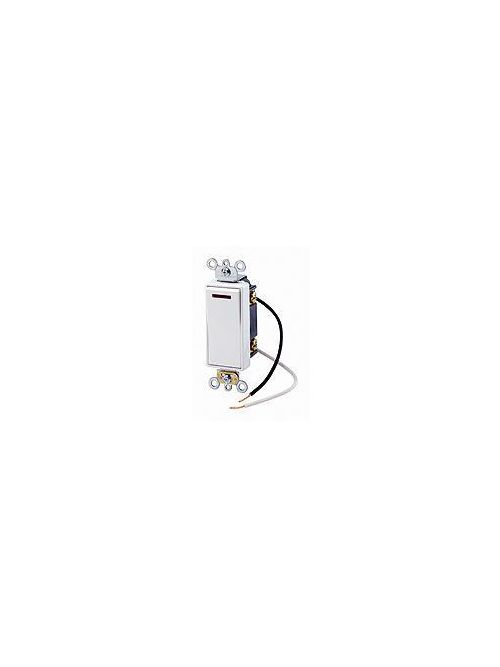 Leviton 5639-2W 20 Amp 277 Volt Decora Plus Rocker Pilot Light Illuminated ON 3-Way White AC Quiet Switch