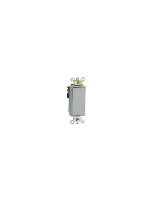 Leviton 5691-2GY 15 Amp 120/277 Volt Decora Plus Rocker 1-Pole Grey AC Quiet Switch