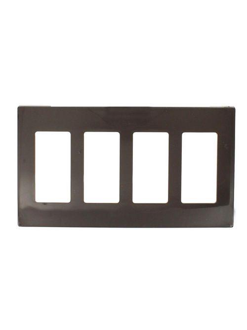 Leviton 80312 8.19 x 0.22 x 4.5 Inch 4-Gang Smooth Brown Thermoplastic Nylon Snap-On Screwless Standard Decorator Wallplate