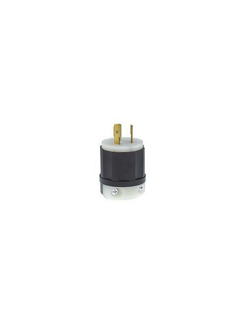 Leviton 2361 20 Amp 125/250 Volt NEMA L10-20P 3-Pole 3 Wire Industrial Grade Non-Grounding Black/White Locking Plug