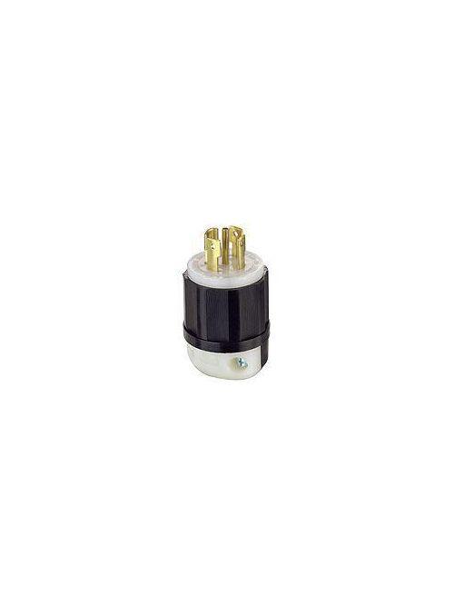 Leviton 2811 30 Amp 120/208 Volt 3PY NEMA L21-30P 4-Pole 5 Wire Locking Plug Industrial Grade Grounding Black/White