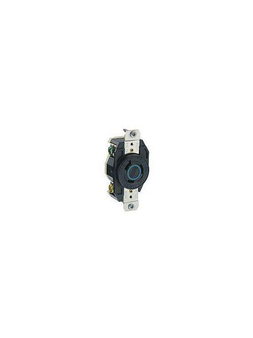 Leviton 2330 277 Volt 20 Amp 2-Pole 3-Wire NEMA L7-20R 2 Hp Black Nylon Grounding Flush Mount Locking Receptacle