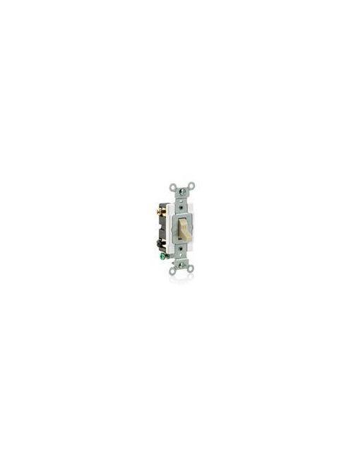 Leviton CS220-2I 120/277 VAC 20 Amp 2-Pole 2 Hp Ivory Thermoplastic Grounding Toggle Quiet Switch
