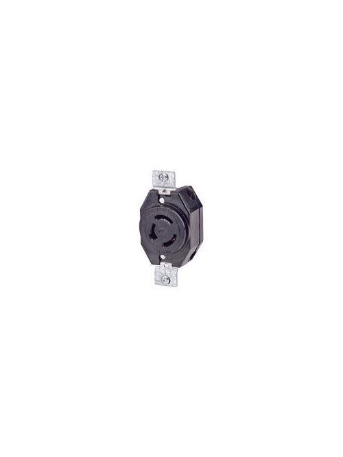 Leviton 7410-B 120/208 Volt Star 20 Amp 4-Pole 4-Wire Non-NEMA Black Nylon Non-Grounding Flush Mount Locking Receptacle