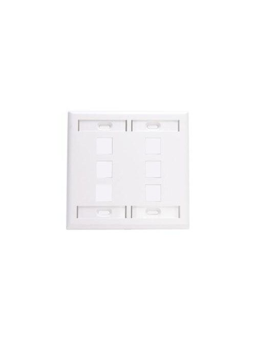 Leviton 42080-6WP 4.56 x 4.5 Inch 2-Gang White Plastic Snap-In Flush Mount Multimedia Wallplate