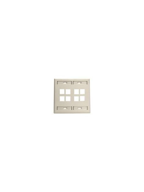 Leviton 42080-8IP Dual Gang 8-Port Ivory QuickPort Wallplate with ID Windows