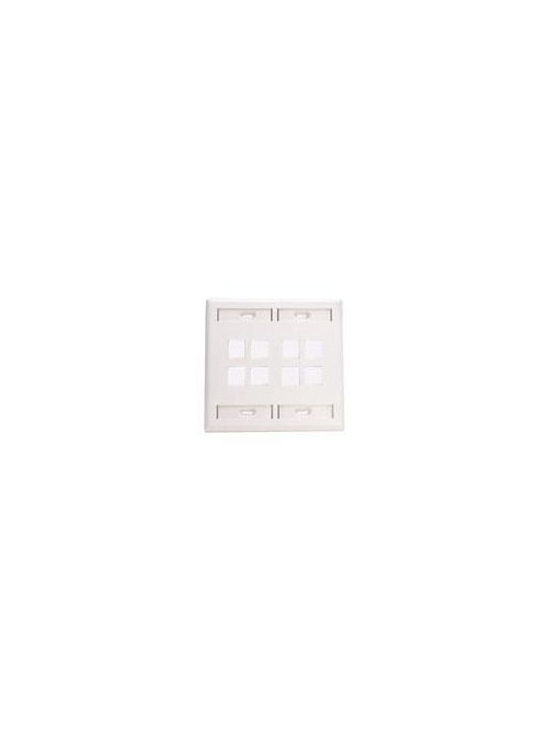 Leviton 42080-8WP Dual Gang 8-Port White QuickPort Wallplate with ID Windows