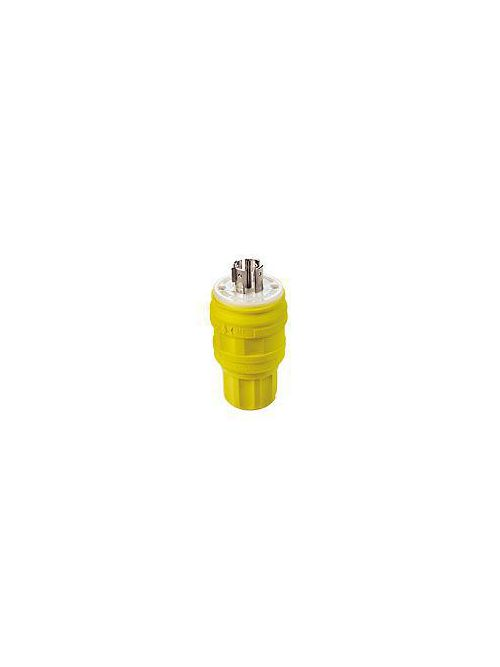 Leviton 26W81 20 Amp 120/208 Volt 3PY NEMA L21-20P 4-Pole 5 Wire Industrial Grade Grounding Wetguard Yellow Locking Plug