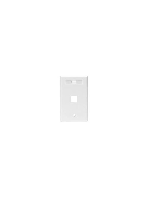 Leviton 42080-1WS Single Gang 1-Port White QuickPort Wallplate with ID Window