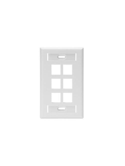 Single-Gang QuickPort Wallplate with ID Windows, 6-Port, White