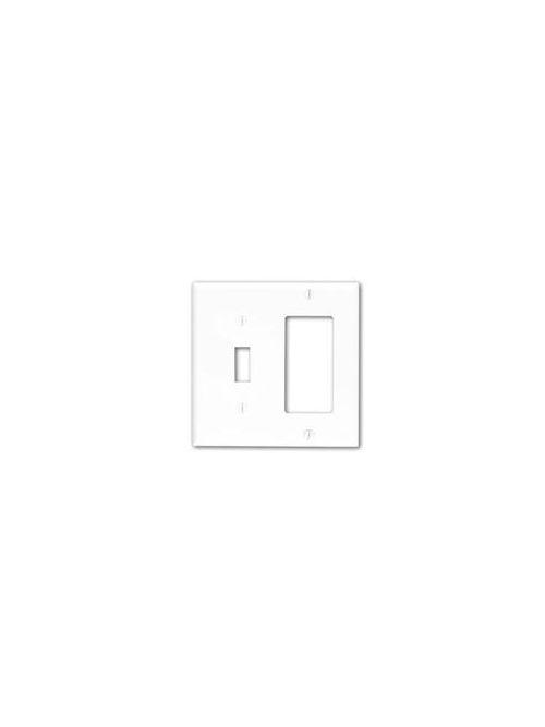 Leviton 80707-E 2-Gang 1-Toggle 1-Decora/GFCI Device Standard Size Thermoplastic Nylon Black Combination Wallplate