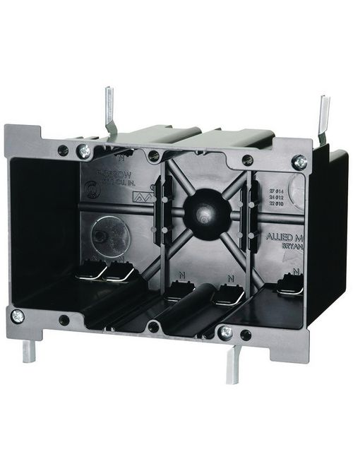 Allied Moulded Products P-352OW 3-25/64 x 5-59/64 x 3-11/16 Inch 52 In 3-Gang Galvanized Steel Switch/Receptacle Outlet Box