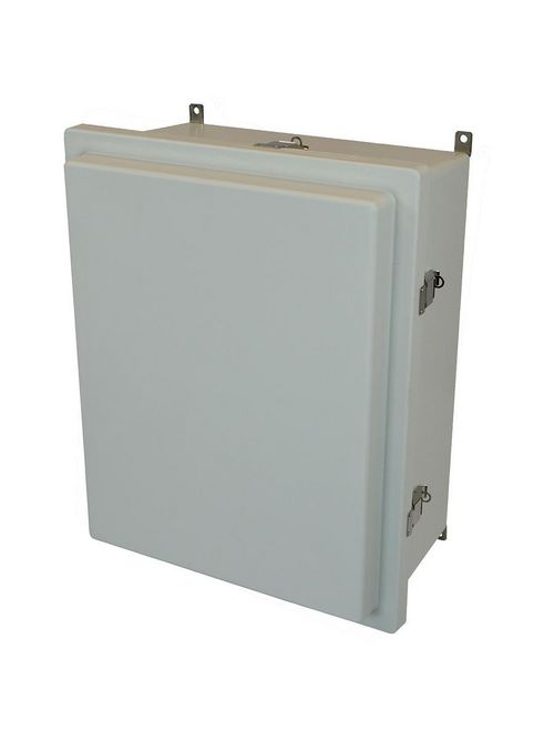 Allied Moulded Products AM2068RL 20 x 16 x 8 Inch NEMA 4X Fiberglass Enclosed Raised Quick Release Latch Hinged Cover